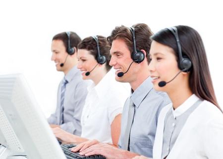 Smiling customer service representatives team Stock Photo - 10078669
