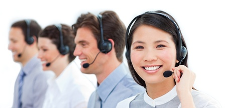 group communication: Positive customer service representatives team