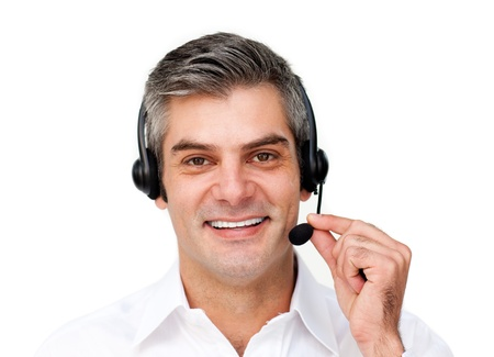 customer assistant: Cute businessman using headset