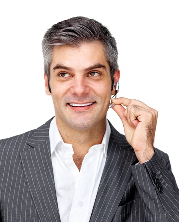 Confident businessman using headset  Stock Photo - 10093806