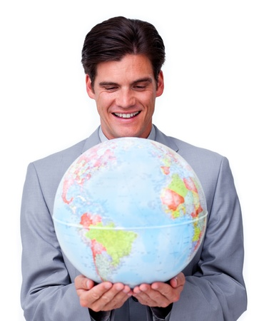 online internet presence: Smiling businessman holding a terrestrial globe  Stock Photo