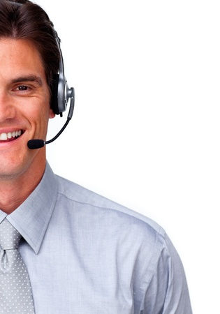 Smiling customer service representatives on a  headset Stock Photo - 10075888