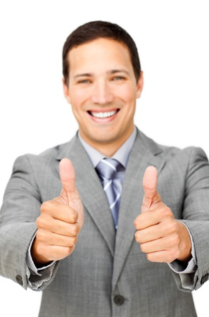 fortunate: Fortunate businessman with thumbs up