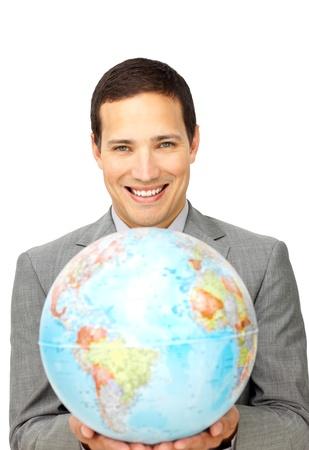 online internet presence: Male customer service representative holding a globe
