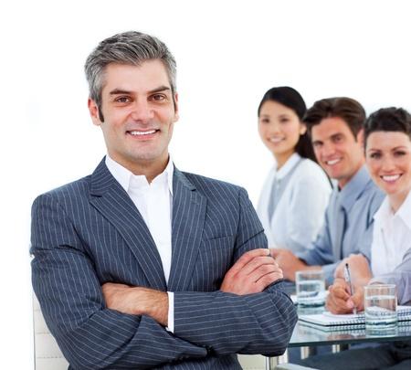 Joyful business partners working together  photo