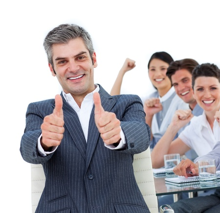 Self-assured business partners working together  photo