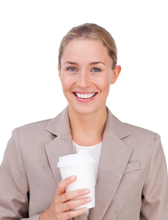 Positive businesswoman drinking a coffee  photo