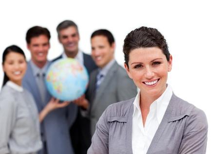 negocios internacionales: Equipo de negocios internacional hermosa trabajando juntos