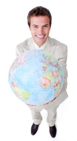 Caucasian businessman holding a globe photo