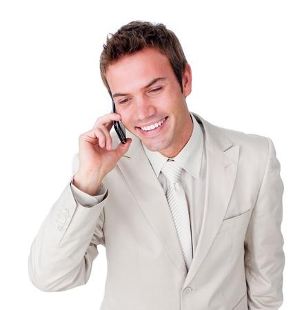 Male businessman having a phone call photo