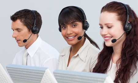 Ethnic woman working in a call center Stock Photo - 10076273
