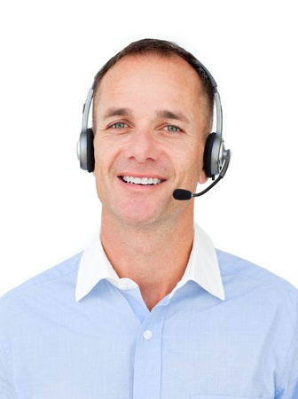Charming Customer service agent talking on headset  photo