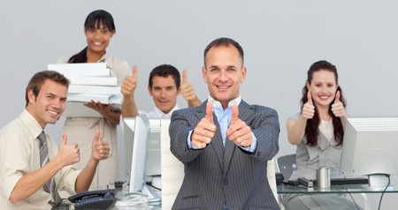 assertive: Assertive manager and his team with thumbs up