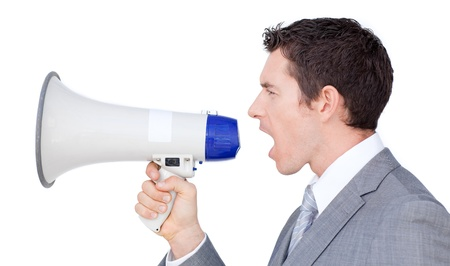 Caucasian businessman using a megaphone  photo