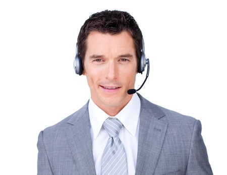 Self-assured businessman using headset photo