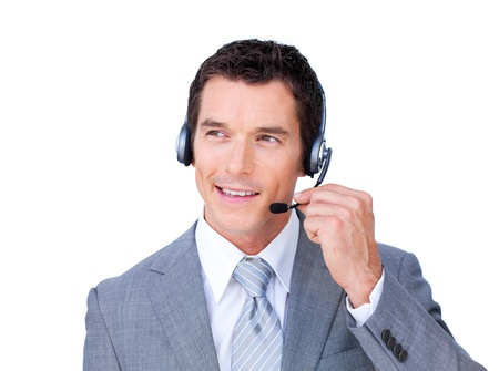 hot secretary: Charming caucasian businessman using headset  Stock Photo