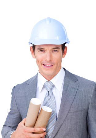 Portrait of an attractive male architect on phone Stock Photo - 10094822