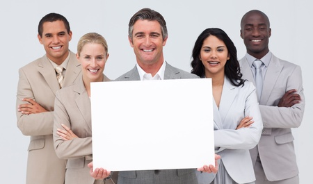 Business team holding a white card photo