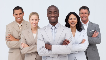 Smiling African businessman leading his team photo