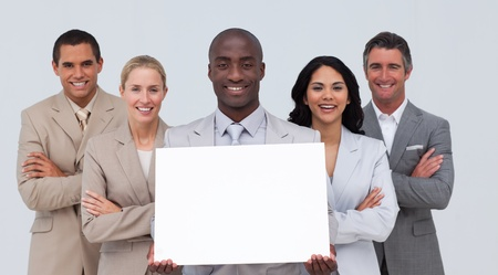 Afro-American businessman holding a white card with his team photo