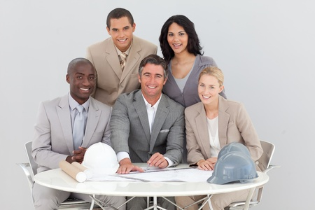Architectural business team working in the office photo