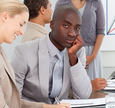 Bored Businessman in a meeting Stock Photo - 10076687