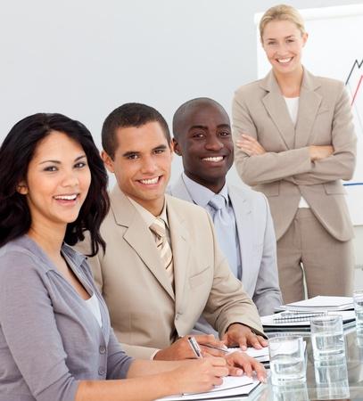 potrait: Potrait of a business team at a presentation