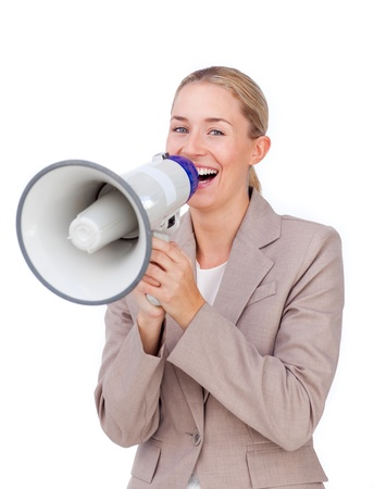 Assertive businesswoman pointing at the camera Stock Photo - 10078111