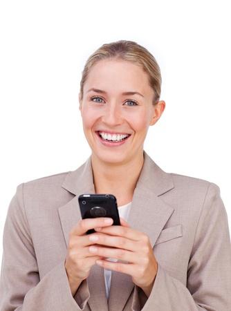 Self-assured businesswoman sending a text photo