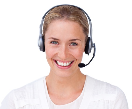 Bright businesswoman making a sign Stock Photo - 10077129