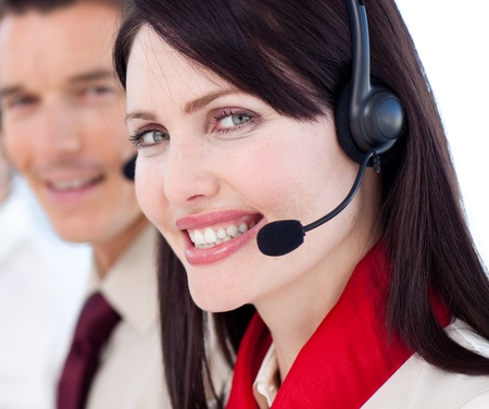 Portrait of a businesswoman with headset on Stock Photo - 10077317