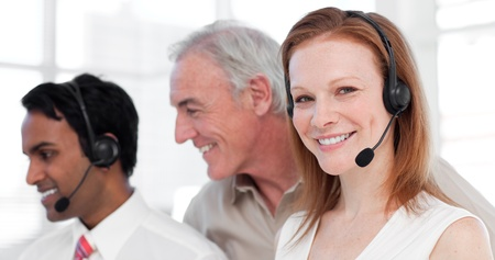 Customer service agents and their manager Stock Photo - 10078449
