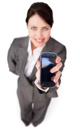 Elegant businesswoman showing a mobile phone  photo