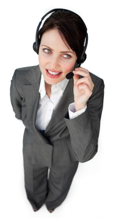 Successfl businesswoman with a thumbs up  photo