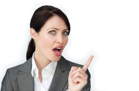 assertive: Assertive businesswoman giving instructions Stock Photo
