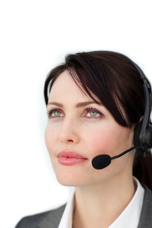 Self-assured businesswoman with headset photo