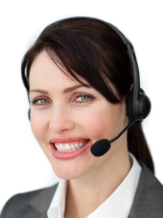Happy businesswoman talking with an headset photo