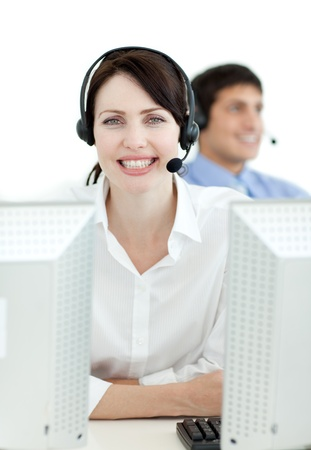 Businesswoman with headset on working  photo