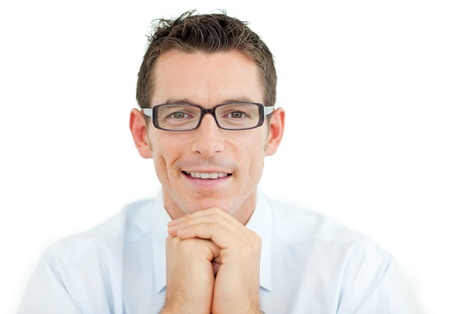 Businessman wearing glasses smiling at the camera photo