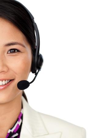 personal call: Radiant asian businesswoman using binoculars