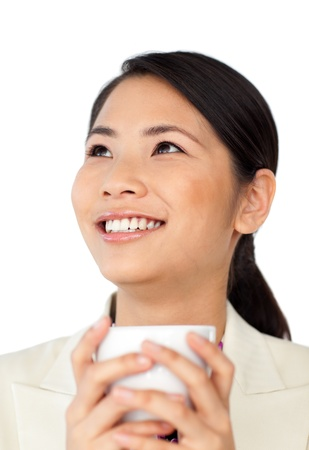 Asian businesswoman drinking coffee  photo