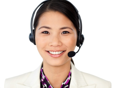 headset woman: Attractive female engineer smiling at the camera