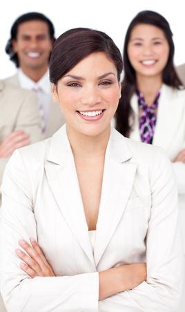 Presentation of a smiling business team photo