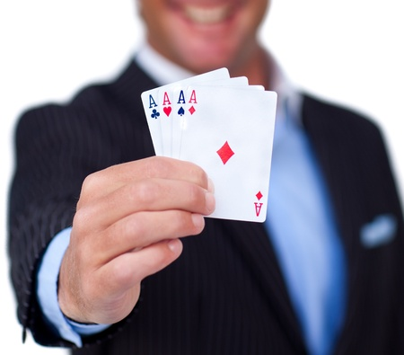 A businessman holding a white card Stock Photo - 10076148