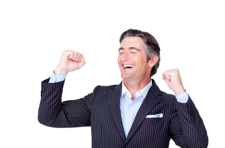 Mature businessman punching the air  photo