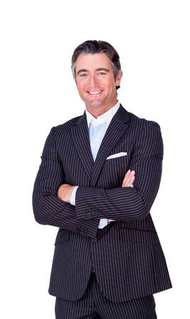 Close-up of a businessman with folded arms