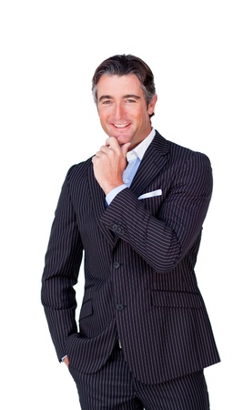 Attractive businessman smiling at the camera  Stock Photo - 10092968