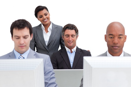Presentation of a happy business team at work Stock Photo - 10077404