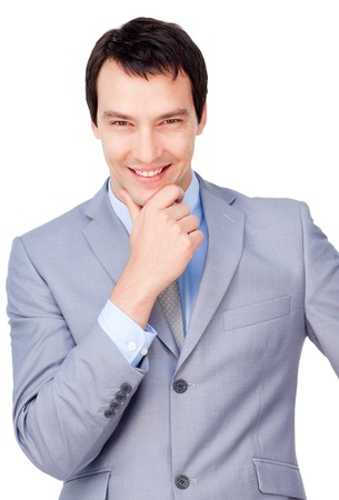 Young businessman smiling at the camera photo