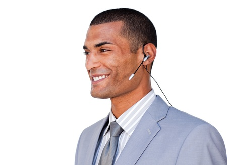 Smiling Confident businessman with headset on  photo